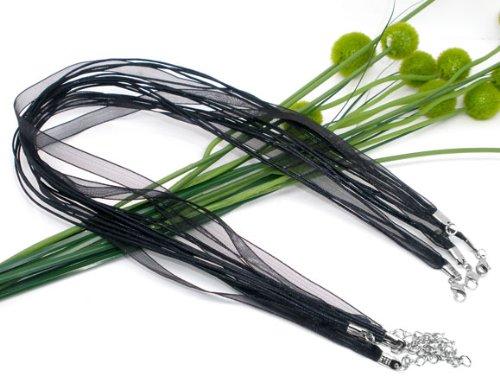 Housweety Organza Ribbon Waxen Cord Necklace Black 17