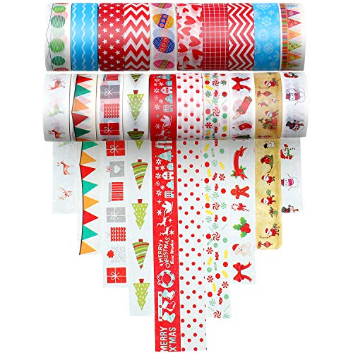 20 Rolls Christmas Washi Tape Self Adhesive Paper Sticker for DIY Craft Scrapbooking Gift Wrapping Scrapbooking Arts Crafts Office Party Supplies (Duct Gifts Tape Diy Christmas)