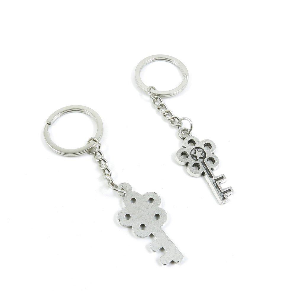 100 Pieces Keychain Door Car Key Chain Tags Keyring Ring Chain Keychain Supplies Antique Silver Tone Wholesale Bulk Lots G4YN9 Star Key