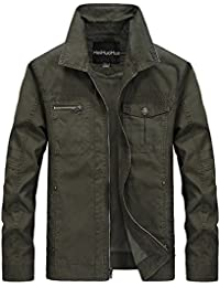 Men's Flat Collar Lightweight Cotton Military Jacket