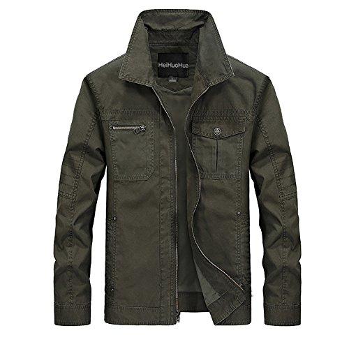 Heihuohua Men's Flat Collar Lightweight Cotton Military Jacket (Canvas Mens Jackets)