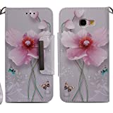 for Samsung Galaxy A5 2017 Wallet Case with Card Holder and Screen Protector,QFFUN Elegant Design [Pink Lotus] Magnetic Stand Leather Phone Cases Drop Protection Etui Bumper Flip Cover with Lanyard
