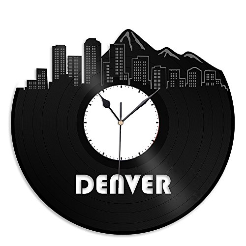 Denver Co Vinyl Wall Clock Cityscape Souvenir