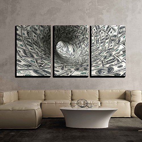 "wall26 - 3 Piece Canvas Wall Art - Dollars Funnel. - Modern Home Art Stretched and Framed Ready to Hang - 24""x36""x3 Panels"