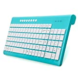 VEGCOO E2 Wireless Keyboard and Mouse Combo (Battery Included) Whisper Quiet Full-size Compact Keyboard Mouse Set With Caps/Number Lock/ Low Battery Indicator Lights(Blue)