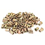 uxcell 10mmx21mm Knurled Stripes Rivet Nut Insert Nutsert Bronze Tone 150pcs