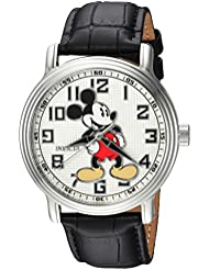 Invicta Mens Disney Limited Edition Quartz Stainless Steel and Leather Casual Watch, Color:Black (Model: 24544)