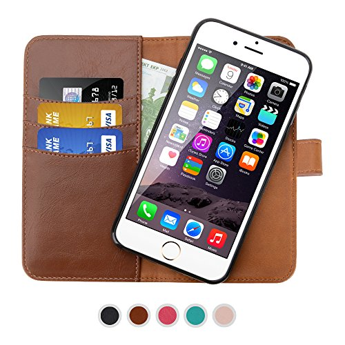 SHANSHUI Wallet Case Compatible with iPhone 6/6s, iPhone 7 and iPhone 8, Premium PU Leather RFID Blocking Magnetic Removable Folio Flip Cover - Brown 4.7