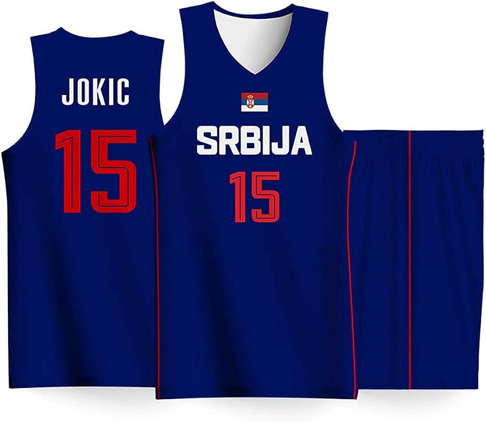 QQLONG Srbija JOKIC No. 15 Traje de Uniforme de Baloncesto Jokic, Juego de Camiseta de la Copa Mundial de Equipo de Baloncesto Masculino de 2019, Tiro cómodo sin obstáculos: Amazon.es: Ropa y