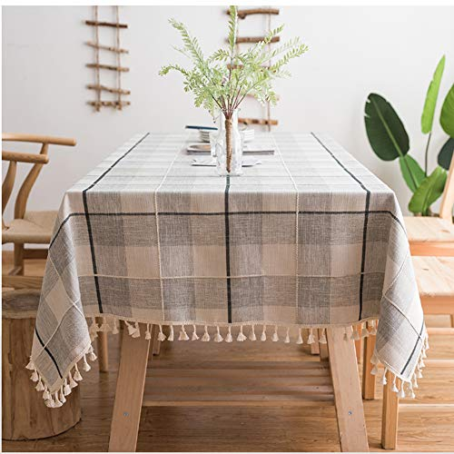 ColorBird Embroidery Checkered Tassel Tablecloth Heavy Weight Cotton Linen Plaid Dust-Proof Table Cover for Kitchen Dinning Tabletop Decoration (Rectangle/Oblong, 55 x 120 Inch, Gray/White) ()