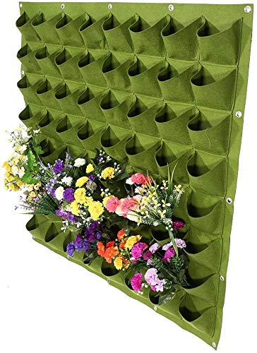 Yosoo 64 Pockets Planting Bags Wall Hanging Gardening Planter Outdoor Indoor Vertical Greening Grow Bags Flower Growing Container, Green