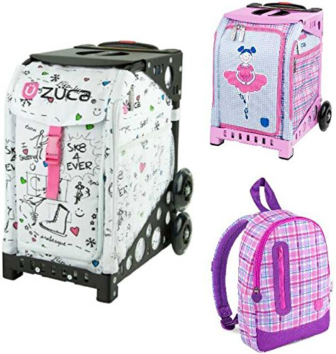 Zuca ''SK8'' Insert Bag in Pink Frame (Full-Sized Sport) with Mini Ballerina Bag for Kids and Explorer Backpack by ZUCA