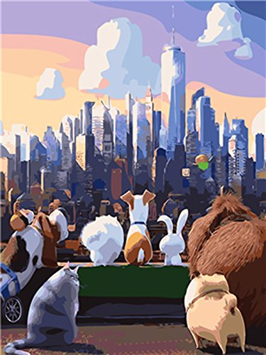 Shukqueen DIY Paint by Numbers for Adults, DIY Oil Painting Kit for Kids Beginner - Secret Life of Pets 16X20 inch (Frameless)]()