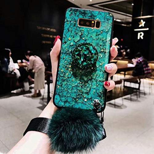 Price comparison product image Samsung S10 Plus Fur Ball Case with Bling Ring Stand, Aulzaju Galaxy S10 Plus Luxury Shiny Marble Style Shockproof Hybrid Hard Fashion Case for Girls Women (samsung galaxy S10 Plus,  Green)