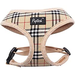 PUPTECK Soft Mesh Dog Harness Pet Puppy Comfort Padded Vest No Pull Harnesses , Cream Small