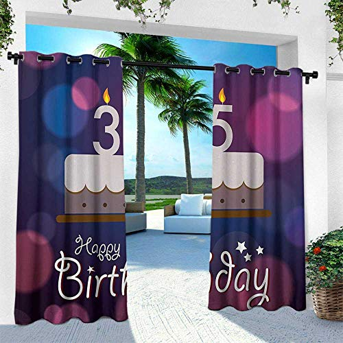Hengshu 35th Birthday, Fashions Drape,Ceremony Concept Artistic with Graphic Cake Candles with Color Spots, W120 x L108 Inch, Blue Pink White