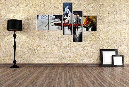 FLY SPRAY 5-Piece 100% Hand-Painted Oil Paintings Stretched Framed Ready Hang Landscape Building City View Red Modern Abstract Painting Canvas Living Room Bedroom Office Wall Art Home Decoration