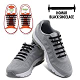 Fan Shop Best Deals - Homar Kids Elastic Athletic Flat No Tie Shoelaces - Best in Sports Outdoors Fan Shop Footwear Shoelaces - Once and for All Silicon Shoe Laces Perfect for Sneaker Boots Oxford and Casual Shoes - Black