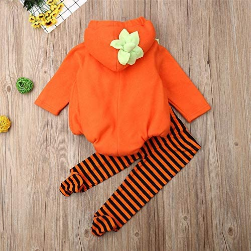 Infant Toddler Baby Girls Boys Halloween Pumpkin Costumes Cute Hooded Romper Top Leggings Pants Outfit Clothes Set