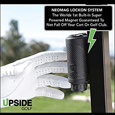 LOCKON Golf Rangefinder with Worlds First Built-in Magnet, Pinseeker Lock, Slope Mode, 6X Laser Rangefinder 650+ Yards, Accurate Distance to 1 Yard, Water Resistant Tournament Legal Rangefinder by Upside Inc