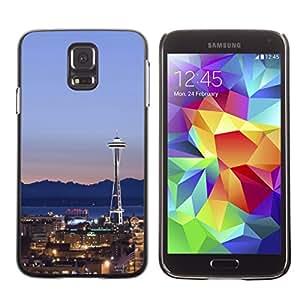 Graphic4You Seattle Washington USA Postcard Design Thin Slim Rigid Hard Case Cover for Samsung Galaxy S5
