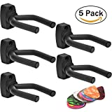 #6: Guitar Hanger, 5 Pack Guitar Hook Holder Wall Mount Display w/ 10 Picks For Acoustic Electric Guitars