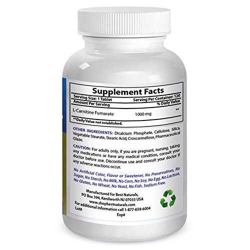 Best Naturals L-Carnitine 1000mg 60 Tablets by Best Naturals (Image #2)