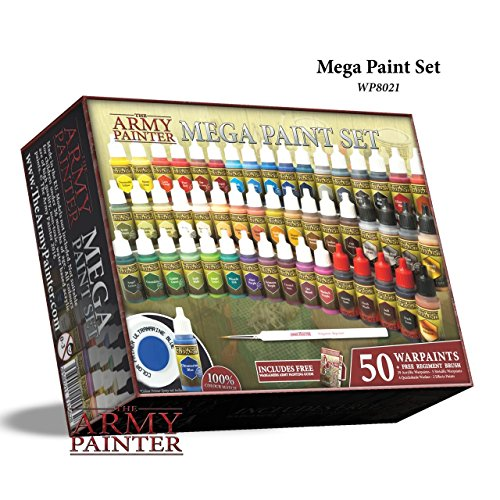 Miniature Painting Kit with Bonus Wargamer Regiment Miniature Paint Brush - Acrylic Model Paint Set with 50 Bottles of Non Toxic Model Paints - Mega Paint Set 3 by The Army Painter Acrylic Model Paint