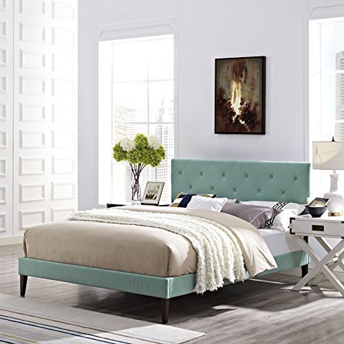 Modway Terisa Queen Fabric Platform Bed with Squared Tapered