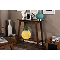 Baxton Studio Sacramento Mid-Century Modern Scandinavian Style Console Table, Dark Walnut