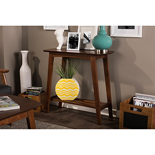 Baxton Studio Sacramento Mid-Century Modern Scandinavian Style Console Table, Dark Walnut For Sale