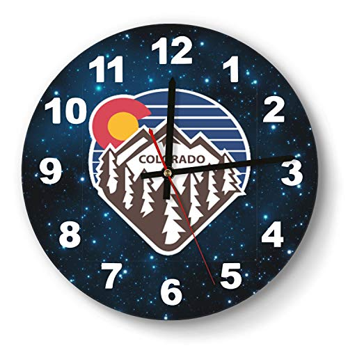 saedes Colorado Snow Mountain Wall Clock Colorful Analog Clock Round Easy to Read Home/Office/School Clock,Wall Clocks Silent Battery Operated