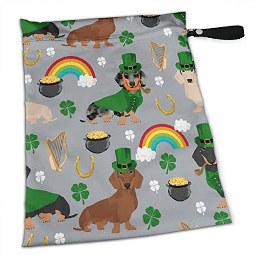 St Patricks Day Leprechaun Wiener Dog Rainbow Premium Wet Bag Baby Wet Dry Cloth Diaper Nappy Stroller Bags Waterproof Reusable Wet Bags for Swimsuit Wet Clothes Baby Items with Zipper]()