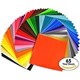 """iVinyl - 65 Adhesive Sheets 12"""" x 12"""" Premium Permanent Self Adhesive Backed Vinyl Sheets - 65 Glossy & Matt Assorted Colors Sheets for Cricut, Craft Cutters, Silhouette Cameo & Crafting Machines"""