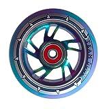 Team Dogz 120mm Swirl Scooter Wheel - Rainbow Core with Blue/Purple Tire