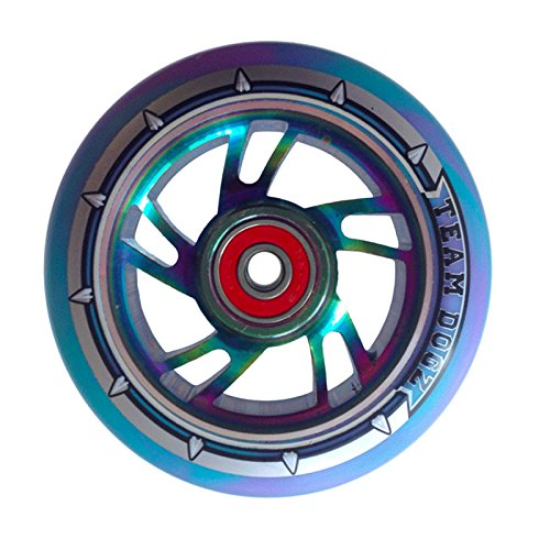 Team Dogz 120mm Swirl Scooter Wheel - Rainbow Core with Blue/Purple Tire by Team Dogz