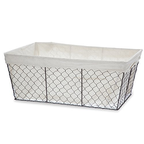 The Lucky Clover Trading Rectangular Utility Wire Basket with Cloth Liner, Large