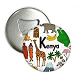 Kenya Landscap Animals National Flag Round Bottle Opener Refrigerator Magnet Pins Badge Button Gift 3pcs
