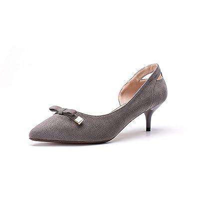 2b15b8fc05a7 Chaussure petit talon kitten-heel femme escarpin bout pointu bowknot  papillon microfibre confort gris 39