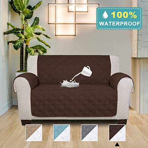 (100% Waterproof Loveseat Covers for Leather Anti Slip Furniture Protector, Stay in Place Protect from Kids, Dogs, Pets, 75