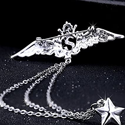 7e6dca1f723c Image Unavailable. Image not available for. Color: 2018 brooch pin badge  badge pin buckle men's suit chain collar pin women girls angel wings