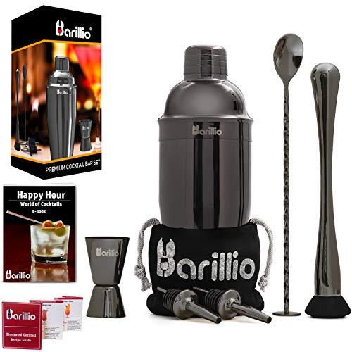 Black Cocktail Shaker Set Bartender Kit by BARILLIO: 24 oz Stainless Steel Martini Mixer, Muddler, Mixing Spoon, jigger, 2 liquor pourers, Velvet Bag, Recipes Booklet & eBook