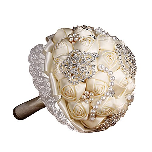 Swarovski Crystal Bouquet Jewelry - Engerla Wedding Bouquet Handmade Rose Flowers with brooch