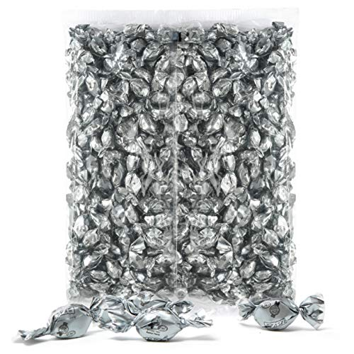 Color Themed Hard Candy - Bulk 4 Pound Bag of Silver Color Foil Mini Candies Individually Wrapped Pineapple Fruit-Filled Flavored Candy (Kosher, About 940 Candies)