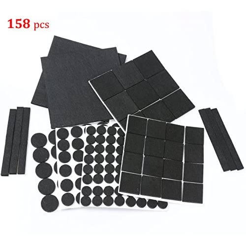 RERIVER Furniture Felt Pads Heavy Duty Self Stick Furniture Pads Protect Wood  Floor 158 Pieces