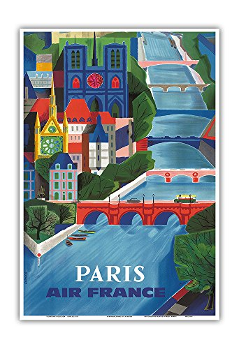 France Vintage Poster - Pacifica Island Art Paris - France - The Seine River - Vintage Airline Travel Poster by Jean Vernier c.1953 - Master Art Print - 13in x 19in