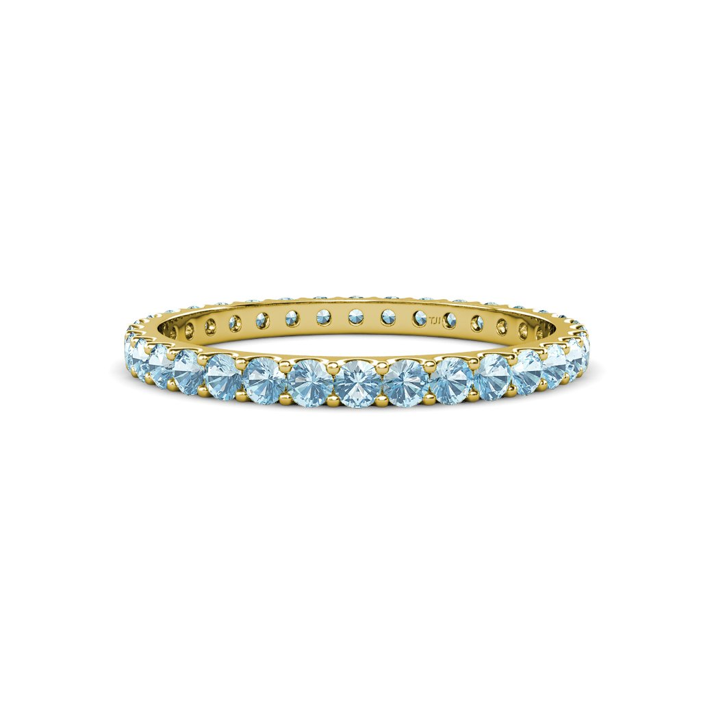 TriJewels Aquamarine 2.4mm U-Prong Womens Eternity Band 0.84 ctw to 0.98 ctw in 14K Yellow Gold.size 8.5