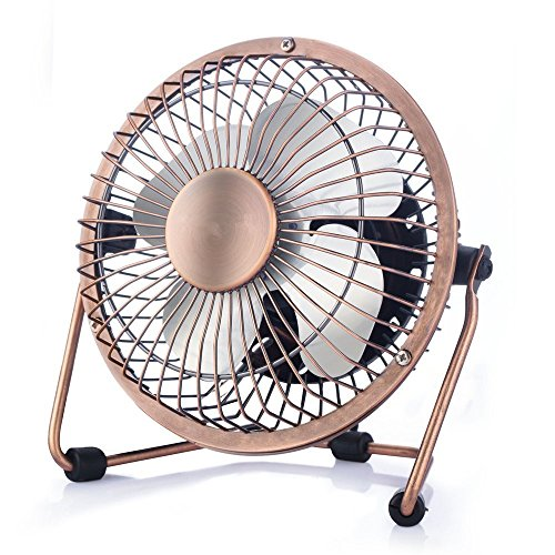 Wsobue Mini USB Personal Fan,Ultra Quite Desk Metal Fan with Enhanced Airflow,360°Rotating,Desktop Small Portable Cooling Fan for Home Office(4 inch-Bronze) ()