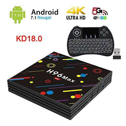 [2019 Version] H96 Max TV Box Android 7.1 RK3328 Quad-Core 64bit 4GB DDR3 32GB EMMC 4K Ultra HD Smart TV Box Support 2.4G/5G Dual Band WiFi 100M LAN 3D H.265 with Wireless Mini Backlit Keyboard