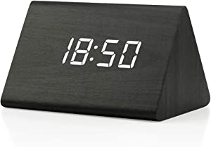 Oct17 Wooden Wood Clock, 2020 New Version LED Alarm Digital Desk Clock Adjustable Brightness, Alarm Time, Displays Time Date Temperature - Black (White Light)